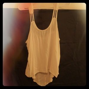 2 button, open back, strappy tank